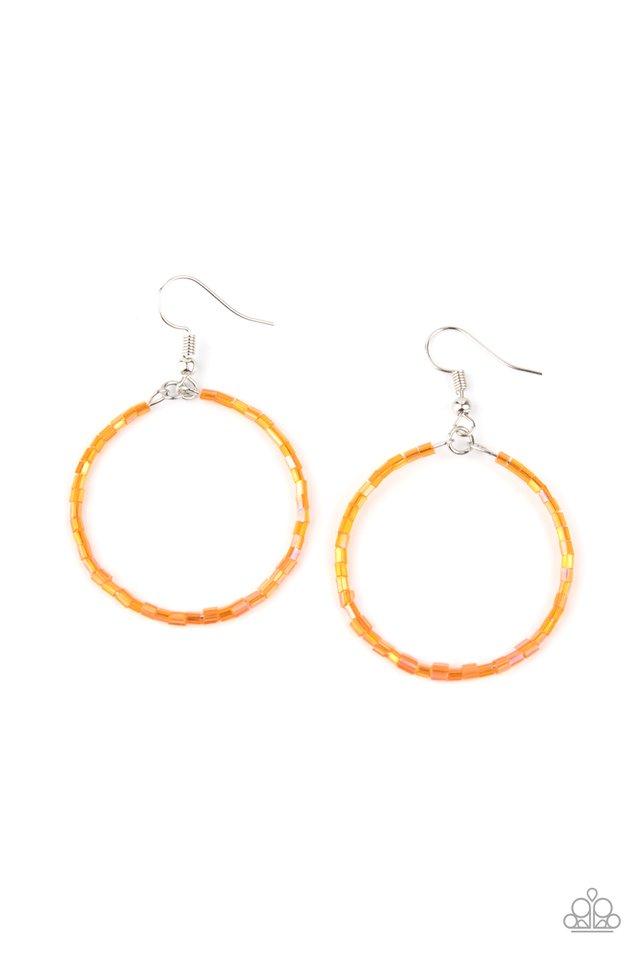 Colorfully Curvy - Orange - Paparazzi Earring Image