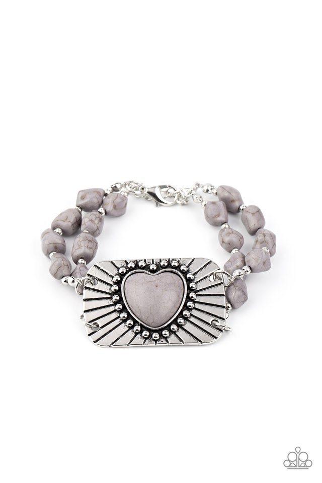 Sandstone Sweetheart - Silver - Paparazzi Bracelet Image