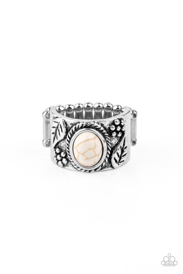 Free-Spirited Fields - White - Paparazzi Ring Image