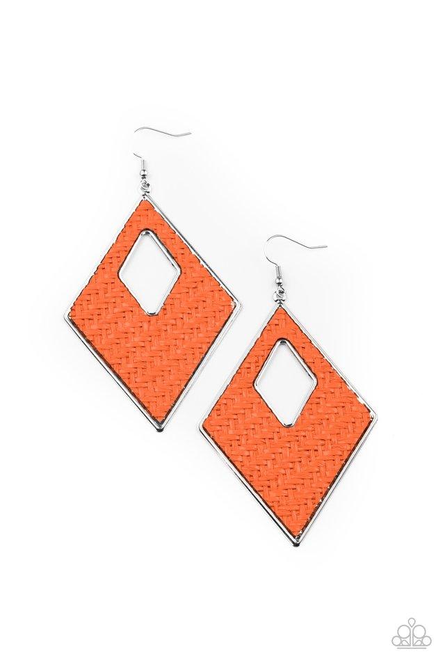 Woven Wanderer - Orange - Paparazzi Earring Image