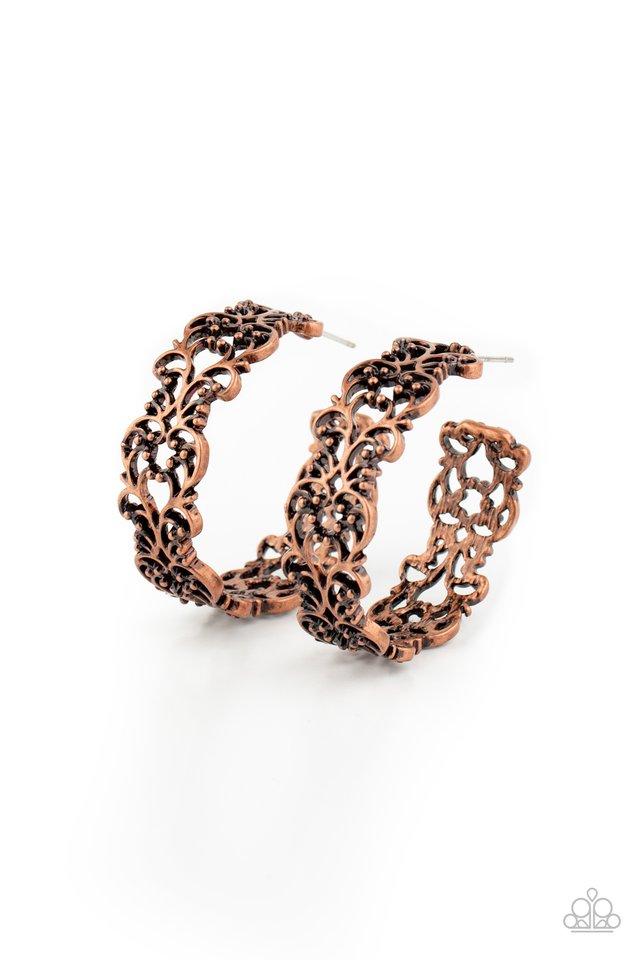 Laurel Wreaths - Copper - Paparazzi Earring Image