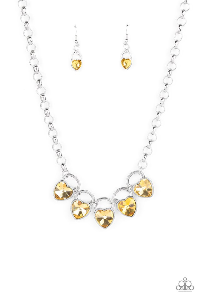 HEART On Your Heels - Yellow - Paparazzi Necklace Image