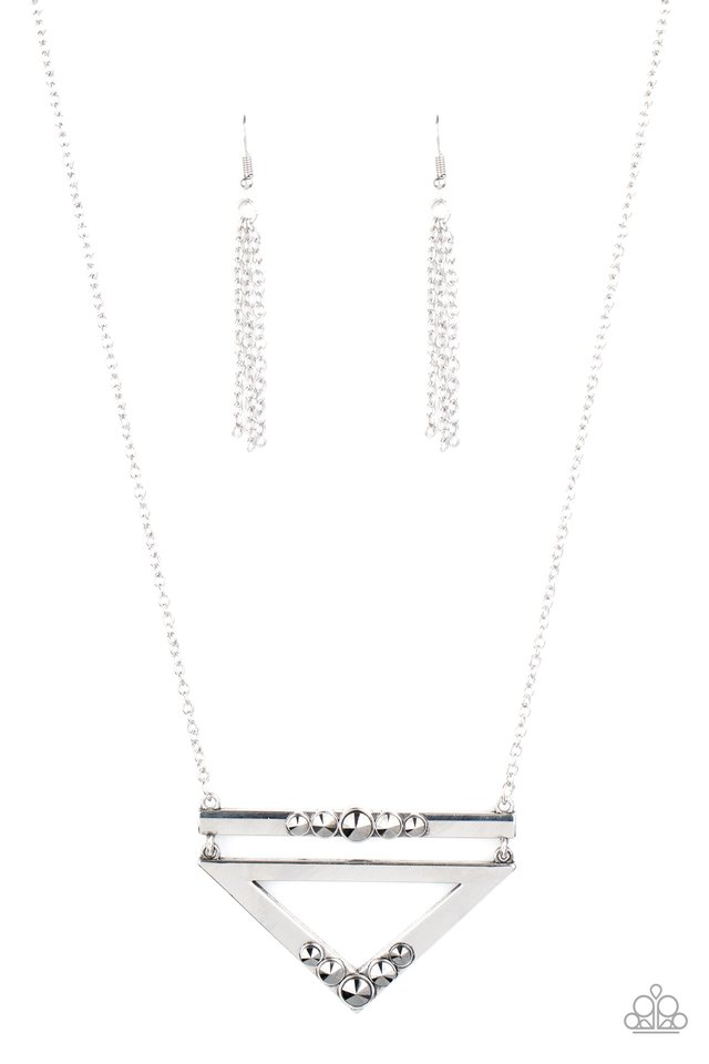 Triangulated Twinkle - Silver - Paparazzi Necklace Image