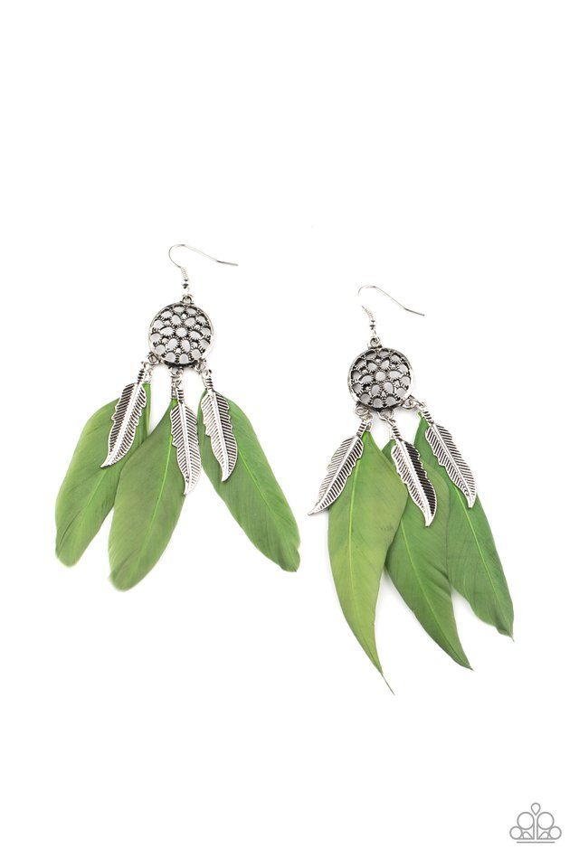 In Your Wildest DREAM-CATCHERS - Green - Paparazzi Earring Image