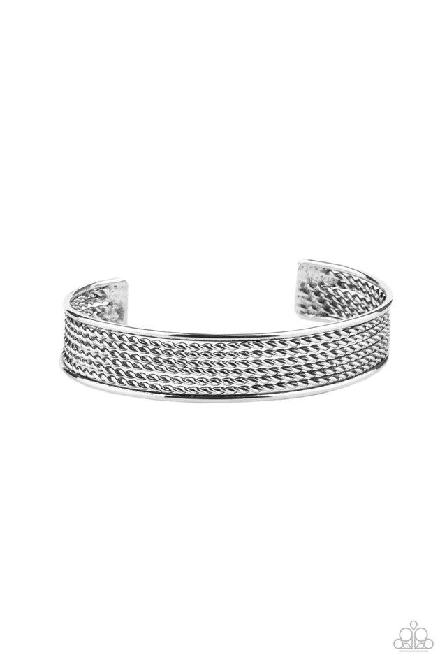 Risk-Taking Texture - Silver - Paparazzi Bracelet Image