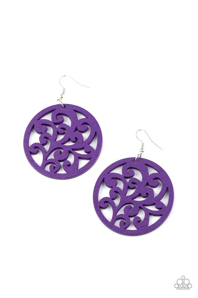 Fresh Off The Vine - Purple - Paparazzi Earring Image