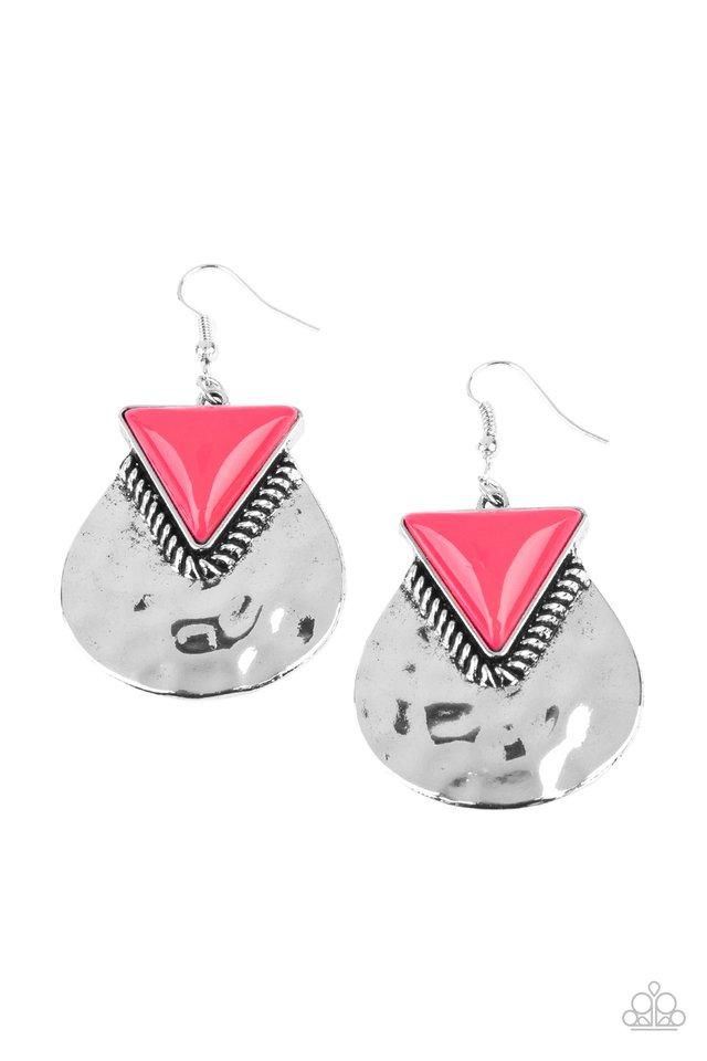 Road Trip Treasure - Pink - Paparazzi Earring Image