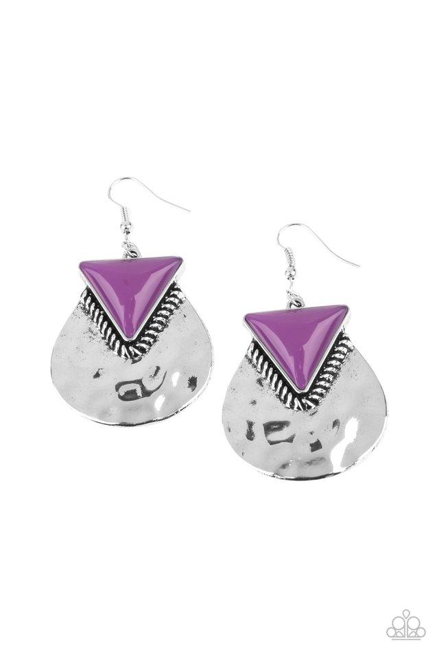 Road Trip Treasure - Purple - Paparazzi Earring Image