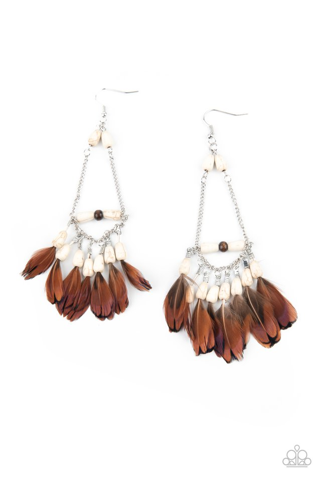 Haute Hawk - White - Paparazzi Earring Image