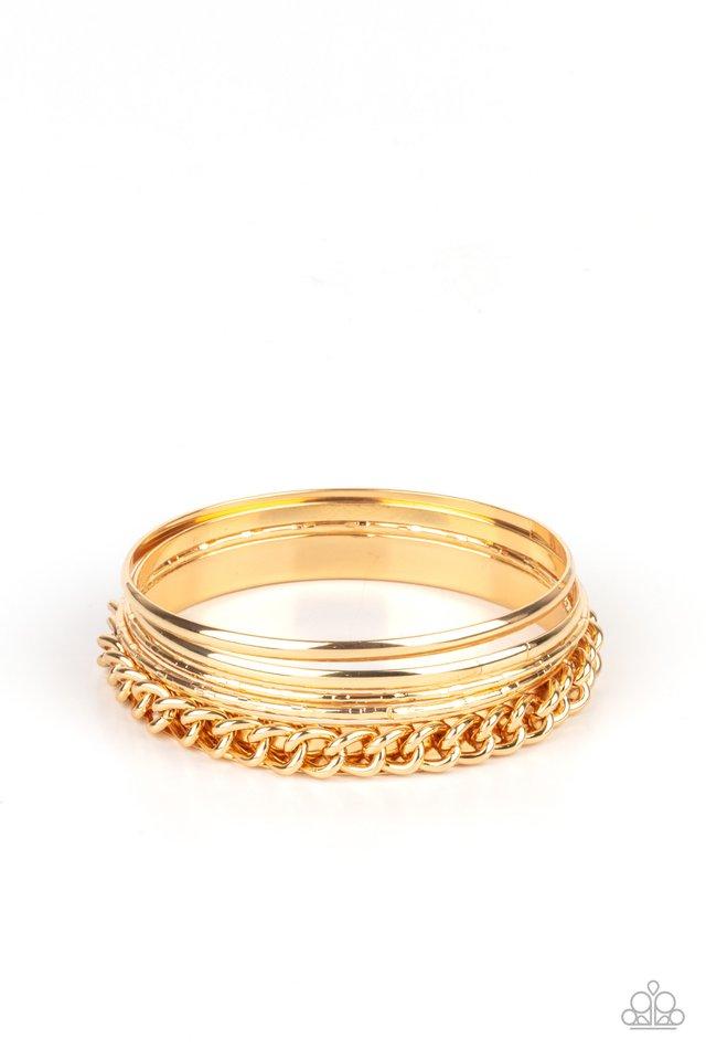 A Piece of The Action - Gold - Paparazzi Bracelet Image
