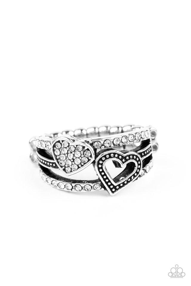 You Make My Heart BLING - White - Paparazzi Ring Image