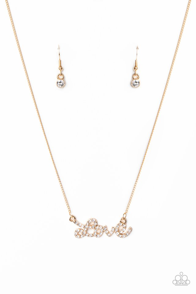 Head Over Heels In Love - Gold - Paparazzi Necklace Image