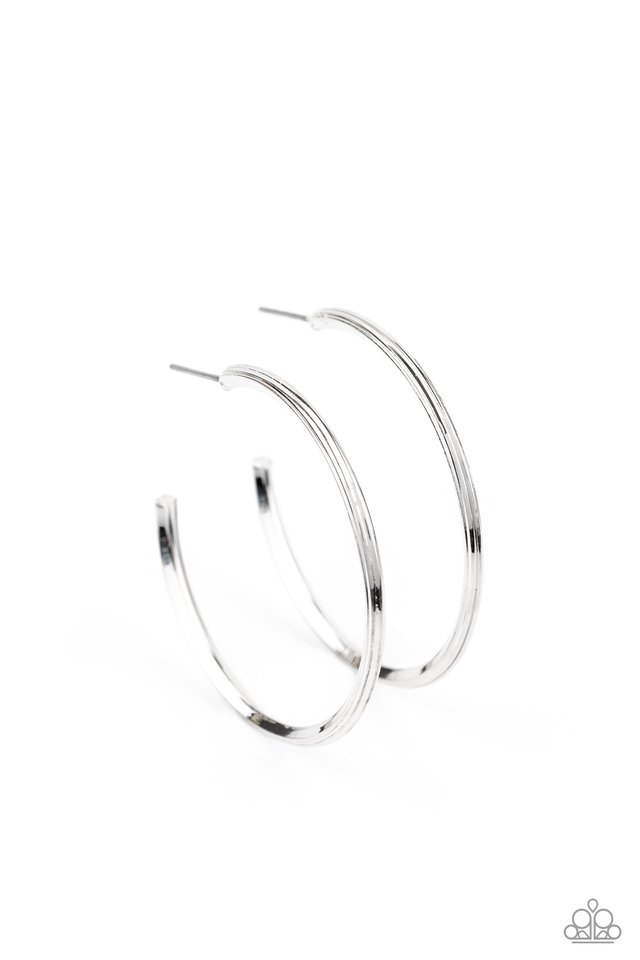 Chic As Can Be - Silver - Paparazzi Earring Image