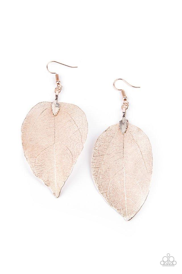 Leafy Legacy - Rose Gold - Paparazzi Earring Image