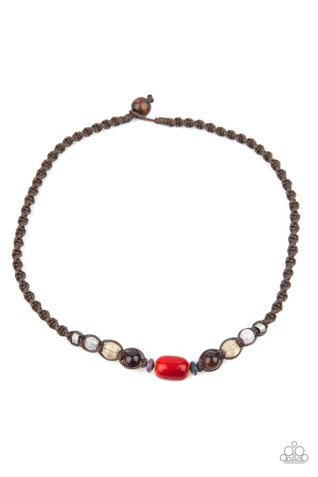 Put Up A BEACHFRONT - Red - Paparazzi Necklace Image