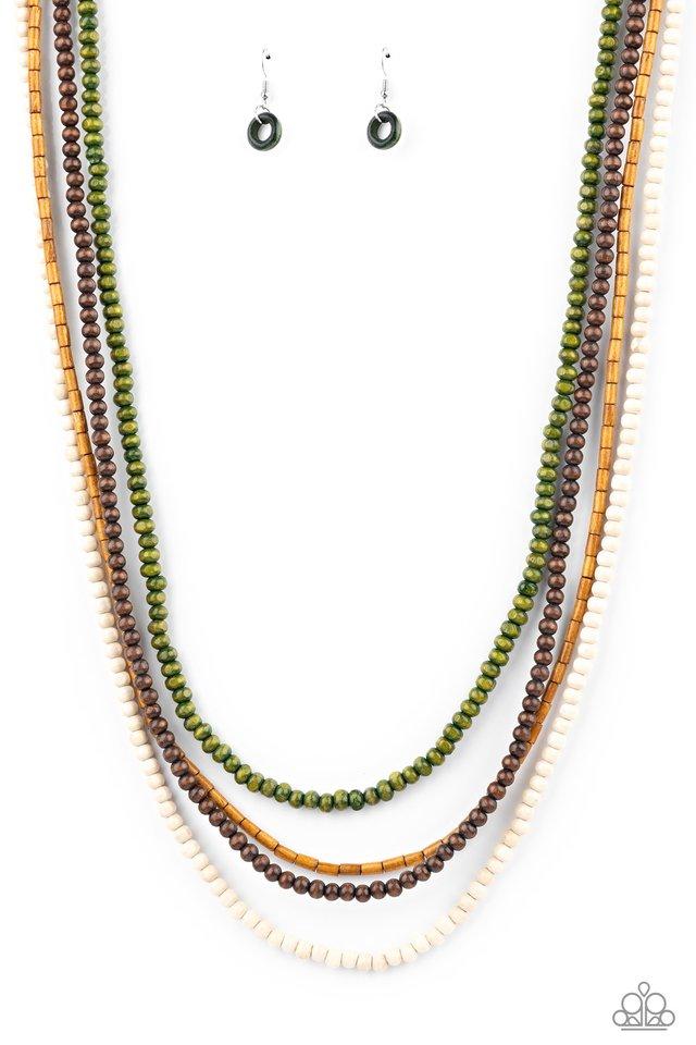 Bermuda Beaches - Green - Paparazzi Necklace Image