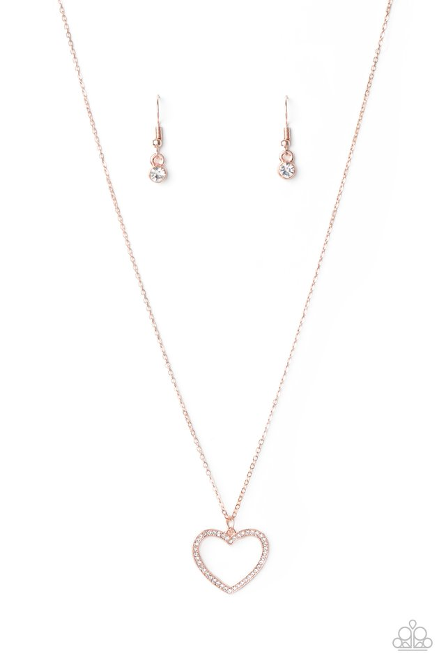 GLOW by Heart - Rose Gold - Paparazzi Necklace Image