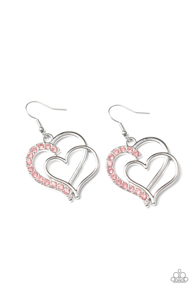 Double the Heartache - Pink - Paparazzi Earring Image
