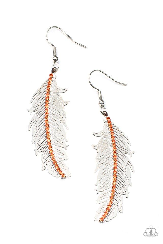 Fearless Flock - Orange - Paparazzi Earring Image