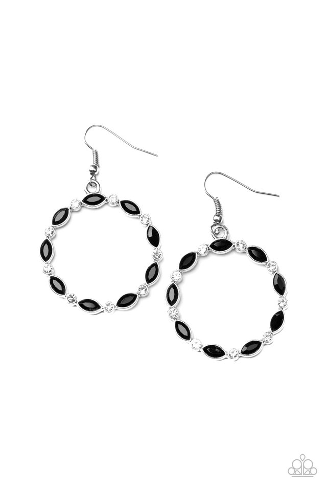 Crystal Circlets - Black - Paparazzi Earring Image
