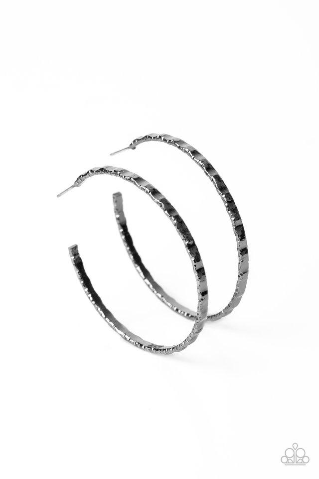 Grungy Grit - Black - Paparazzi Earring Image