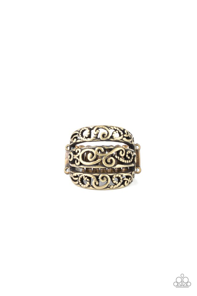 FRILLED To Be Here - Brass - Paparazzi Ring Image