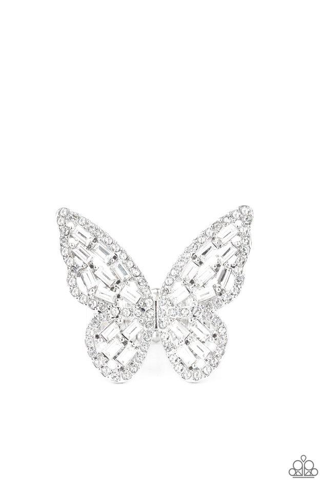 Flauntable Flutter - White - Paparazzi Ring Image