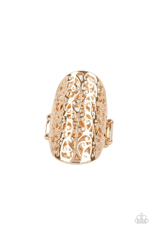 Full Out Frill - Gold - Paparazzi Ring Image