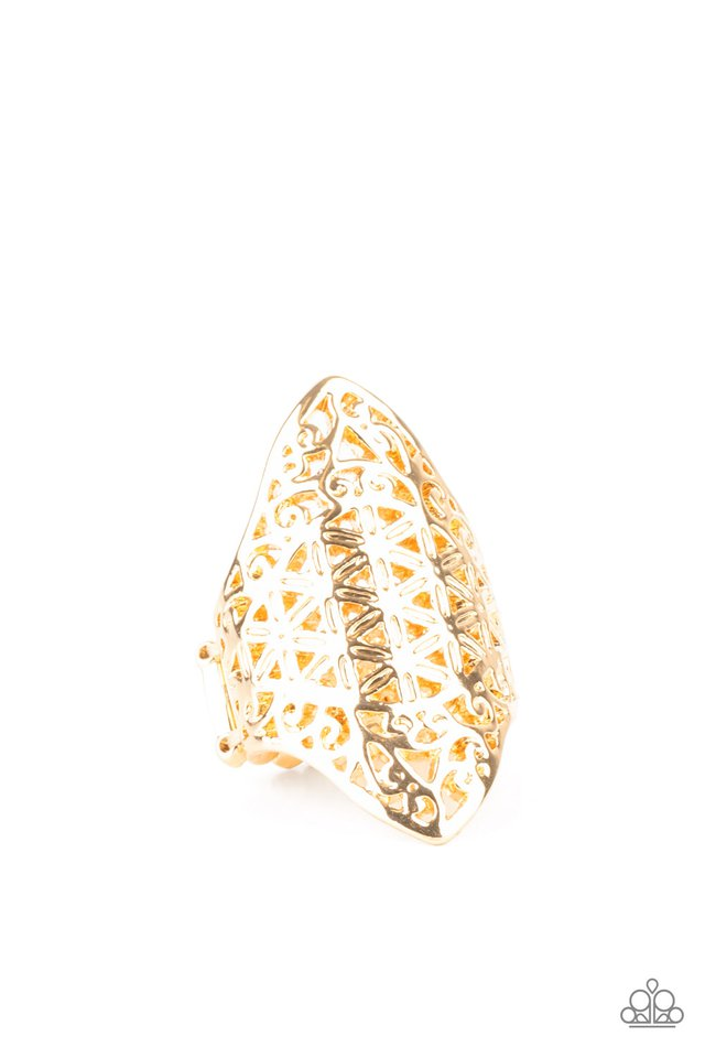FRILL Ride - Gold - Paparazzi Ring Image