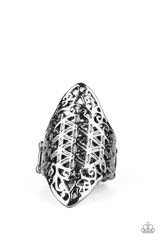 FRILL Ride - Black - Paparazzi Ring Image