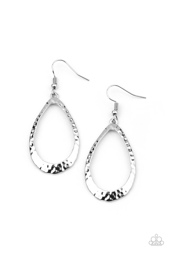 BEVEL-headed Brilliance - Silver - Paparazzi Earring Image