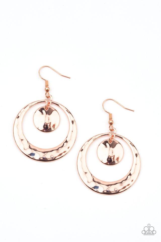 Rounded Radiance - Copper - Paparazzi Earring Image