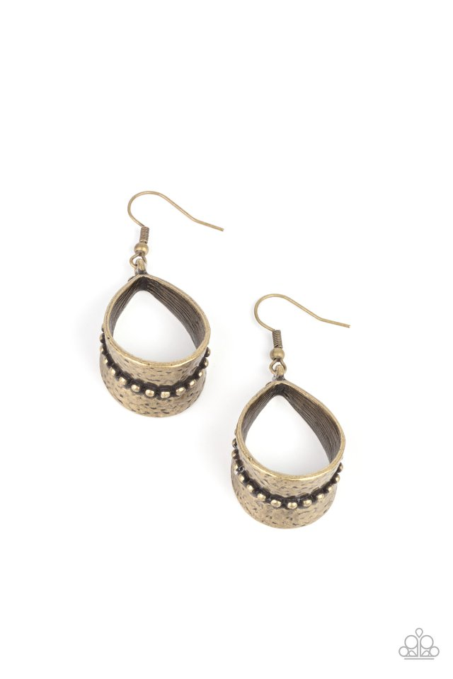 STIRRUP Some Trouble - Brass - Paparazzi Earring Image