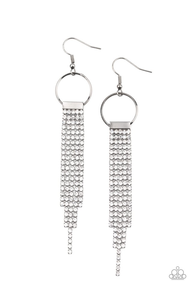 Tapered Twinkle - White - Paparazzi Earring Image