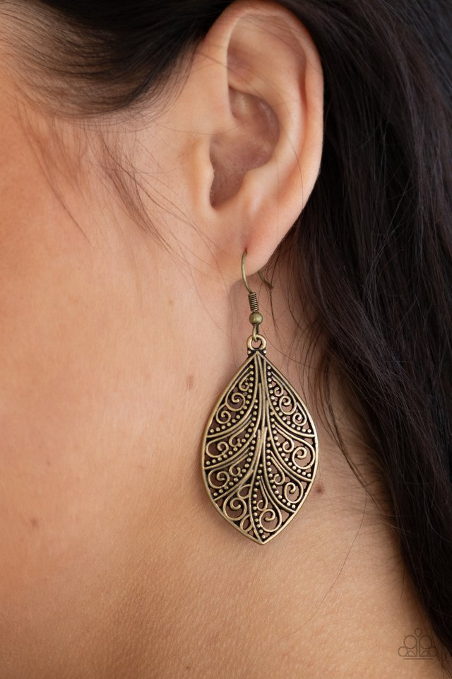 One VINE Day - Brass - Paparazzi Earring Image