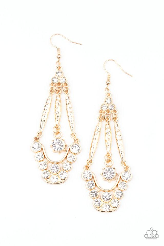 High-Ranking Radiance - Gold - Paparazzi Earring Image