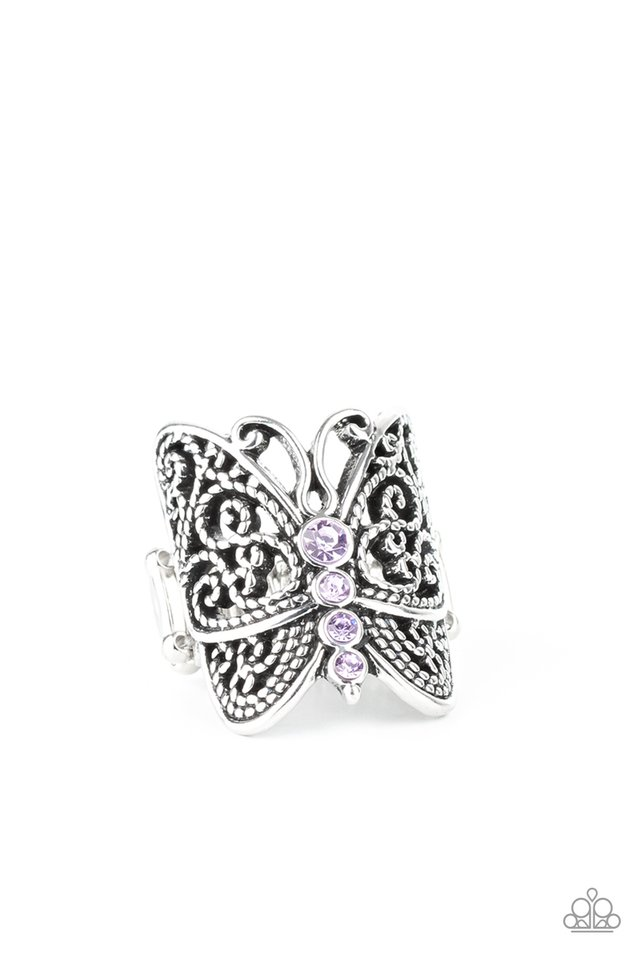 Butterfly Bling - Purple - Paparazzi Ring Image