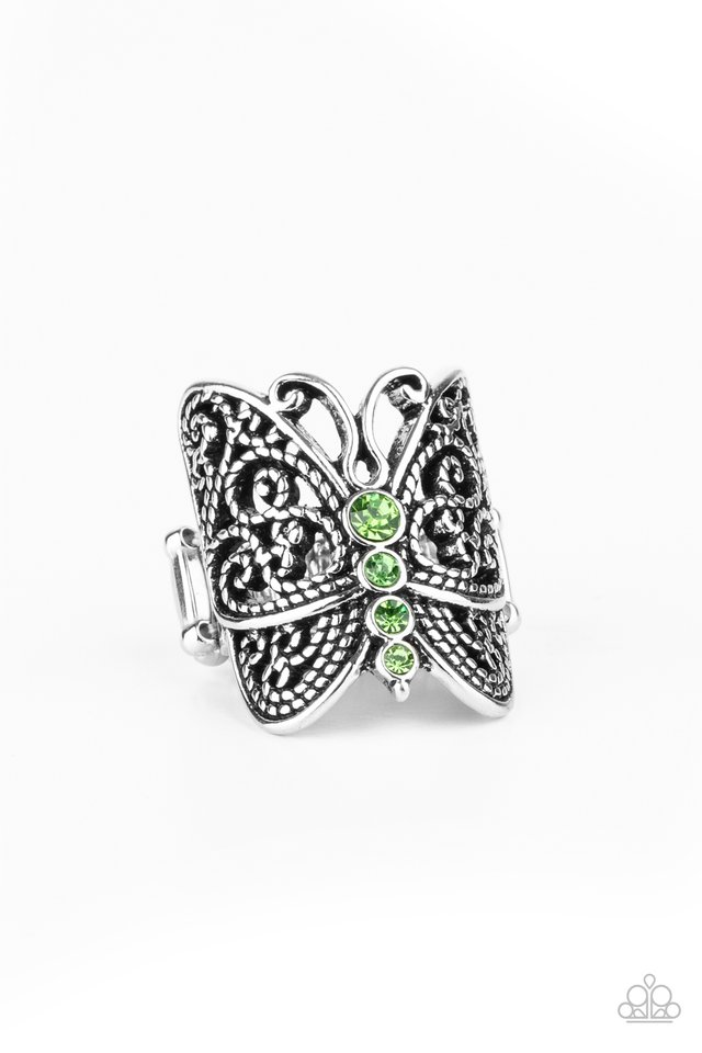 Butterfly Bling - Green - Paparazzi Ring Image