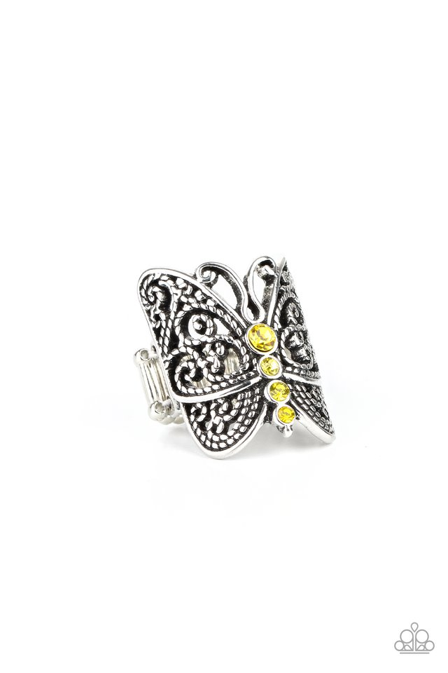 Butterfly Bling - Yellow - Paparazzi Ring Image