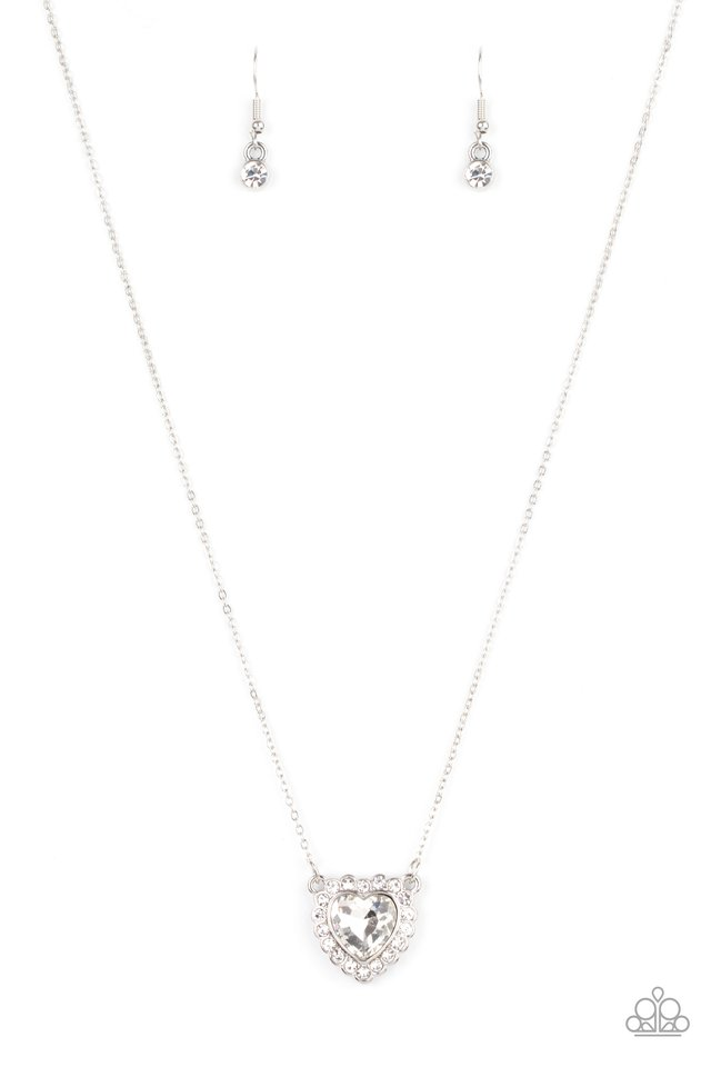 Out of the GLITTERY-ness of Your Heart - White - Paparazzi Necklace Image