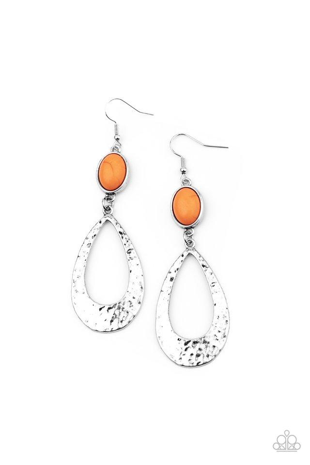 Badlands Baby - Orange - Paparazzi Earring Image