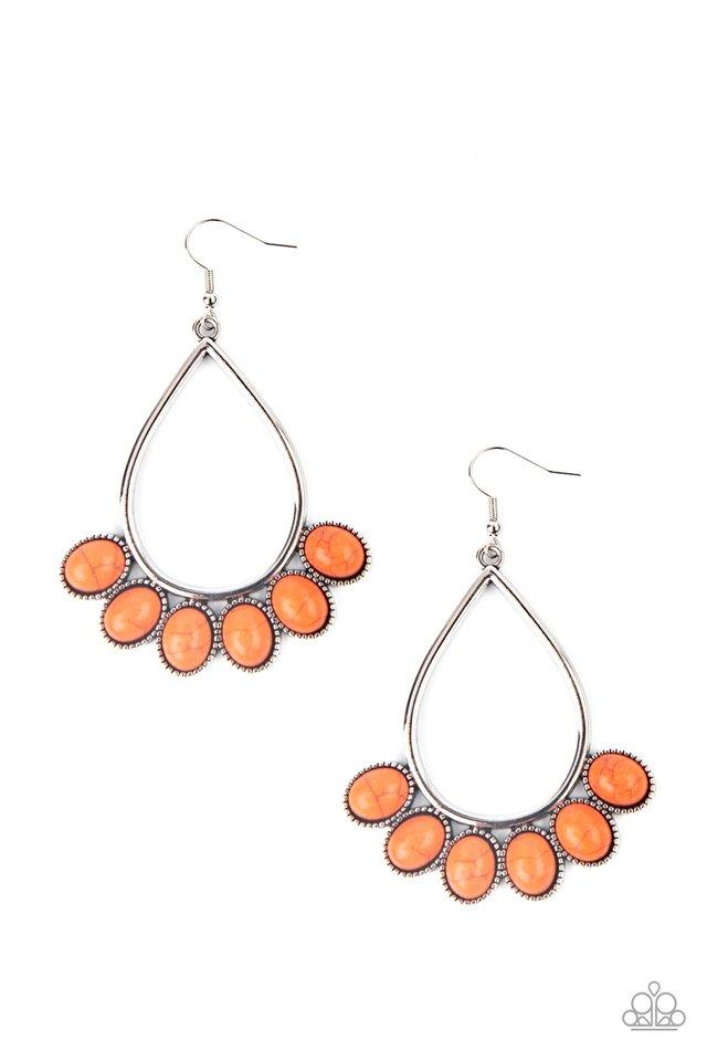Stone Sky - Orange - Paparazzi Earring Image