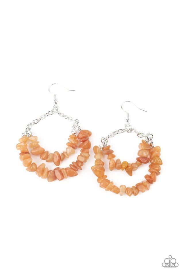 Rainbow Rock Gardens - Orange - Paparazzi Earring Image