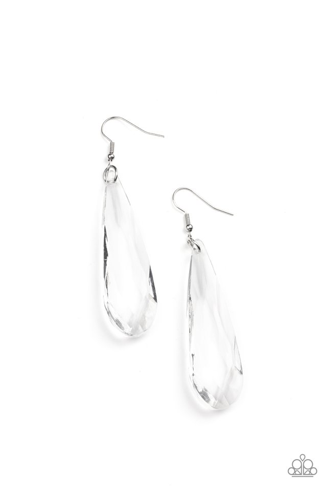 Crystal Crowns - White - Paparazzi Earring Image