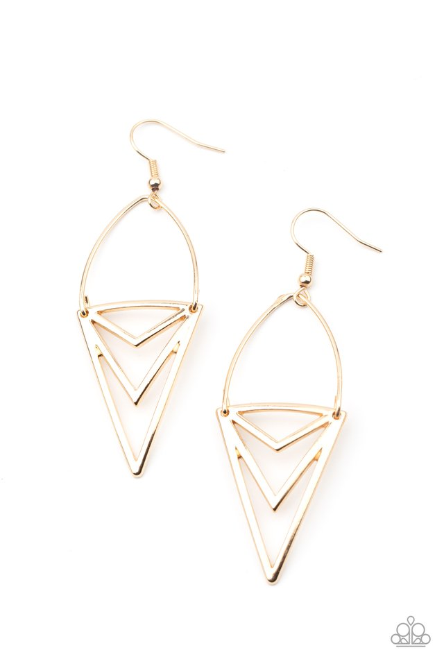 Proceed With Caution - Gold - Paparazzi Earring Image