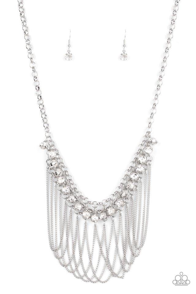 Flaunt Your Fringe - White - Paparazzi Necklace Image