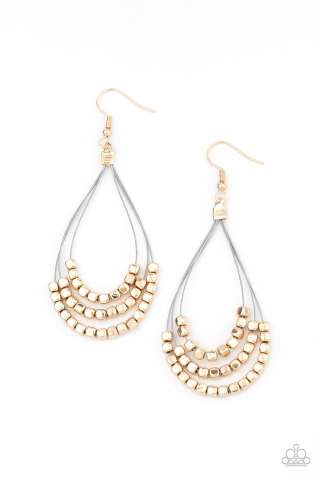 Off The Blocks Shimmer - Gold - Paparazzi Earring Image