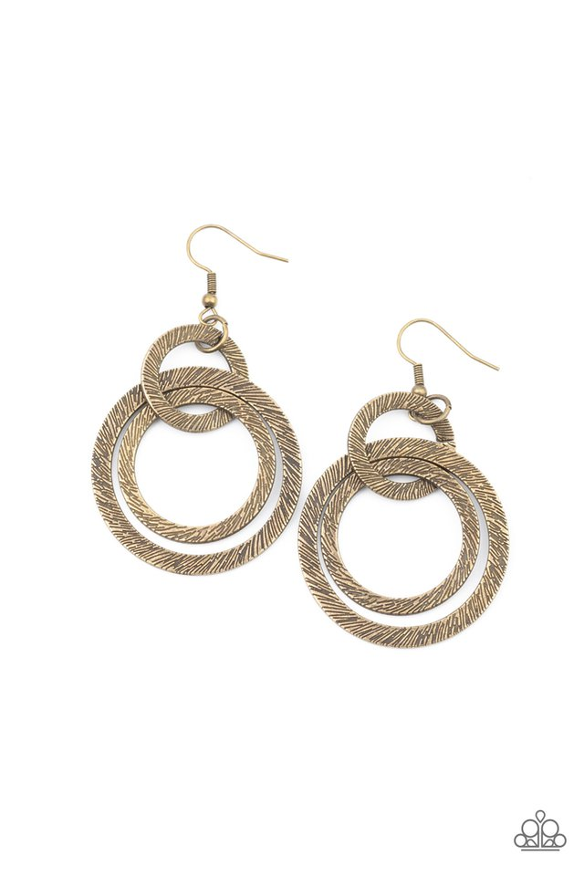 Distractingly Dizzy - Brass - Paparazzi Earring Image