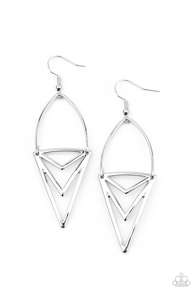 Proceed With Caution - Silver - Paparazzi Earring Image
