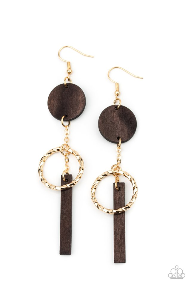 Raw Refinement - Brown - Paparazzi Earring Image